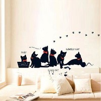 Vinyl Wall Stickers Black Cat Family Wall Decals Decoration