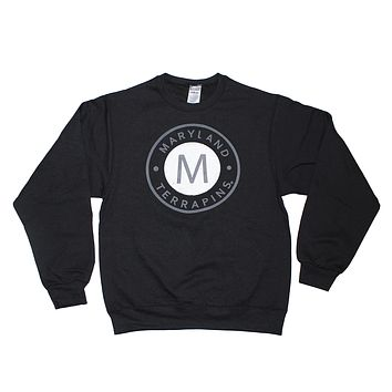 "Maryland Terrapins ""M"" Circle in Grey (Black) / Crew Sweatshirt"