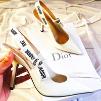 "Hot Sale ""Dior"" New Fashion Women Personality Pumps High Heel Sandals Shoes White I-ALS-XZ"