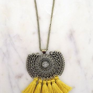 """Mustard Tassel Necklace"""