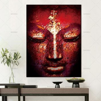 Canvas Painting Wall Art Pictures Wall poster decoration for living room prints vivid Buddha face on canvashome decor no frame