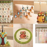 Owl  Bathroom SetCollection Accessories Shower Curtain Hooks Rug Towels Valance
