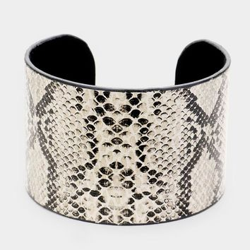 "7"" faux animal print bracelet bangle cuff 1.75"" wide"