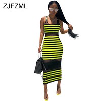 Neon Green Striped Print Wrap Dress Women Black Mesh Patchwork Perspective Long Dress Summer O Neck Sleeveless Club Party Dress