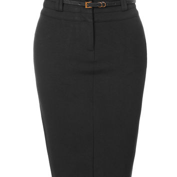 LE3NO Womens Fitted Stretchy Bodycon Midi Pencil Skirt with Faux Leather Belt