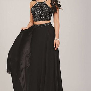 Charcoal two piece floor length gown with a bead embellished bodice.