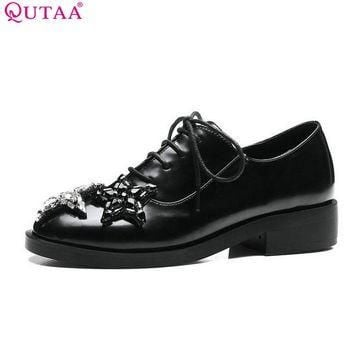 QUTAA 2017 Women Pumps Summer Ladies Shoes Low Heel PU Leather Lace Up Rhinestone Blac