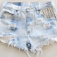 *handmade* studded, distressed, diy, denim shorts.