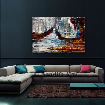 """Cityscape art, Italy Cityscape Painting on canvas, Water view skyline Abstract Painting Wall Art Gift for her 40""""x30"""" (101cmx76cm)by Nandita"""