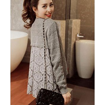 DCCKJ1A FAKE TWO PIECE LACE SWEATER