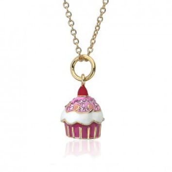 Sparkle sweet pink cherry top cupcake necklace