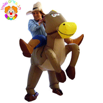 Halloween Costumes for Adult Man and Woman Outfits Inflatable Cowboy Rider On Horse Costumes