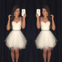 Vestidos de gala Elegant Short Prom Dresses 2016 Sapghetti Straps tulle Beaded Evening Gown Vestidos de baile Evening Party