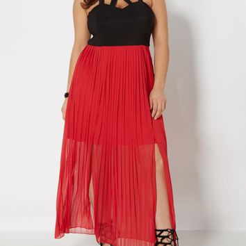 Plus Caged Neck Chiffon Maxi Dress | Plus Maxi Dresses | rue21