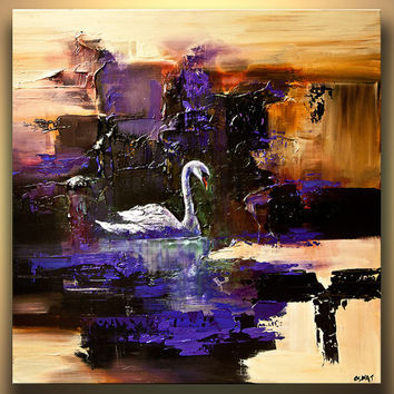 "Modern Art Poster on Photographic Paper - Swan Song - 40""x40"" - Art by Osnat"