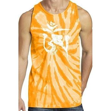 Yoga Clothing for You Mens White Tibet Om Tie Dye Tank Top