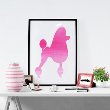Pink Poodle Print, Fashion wall art,Printable Art, Dog Print, Watercolor Poodle, Pink Poodle, Instant Download, Wall Decor, Fashion Pink Art