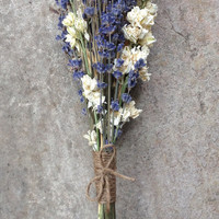 Custom Order for (Lauren)- Lavender Bouquet with Larkspur Blooms and Blond Wheat, Twine