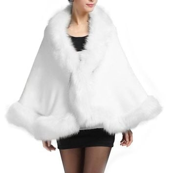 Winter Faux Fur Coat Women Ponchos And Capes Black White Red Fur Top Wedding Dress Shawl Cape Shaggy Fluffy Coat for Women H7