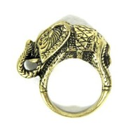 Etched Elephant Ring Size 7.5 Safari Africa RJ14 Jungle Animal Wildlife Tribal Cocktail Fashion Jewelry