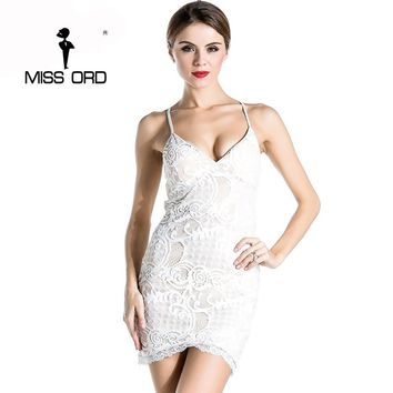 Free Shipping Missord 2018 Sexy tight v-neck dress lace stitching party dress FT1887