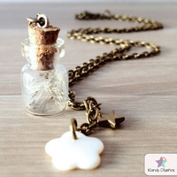 Dandelion necklace Make a wish Dandelion inside a by KandyDisenos
