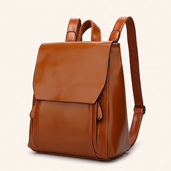 Hot Simple Style Designer Women Backpacks Lady Travel Wax Leather Backpacks Fashion Female Rucksack Bag Solid Color School Bags