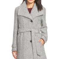 Gallery Belted Long Tweed Coat (Regular & Petite) | Nordstrom