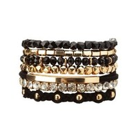 Black Mixed Media Stackable Bracelets - 7 Pack by Charlotte Russe