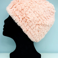 Faux Fur Plush Hat - Blush