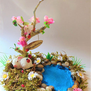 Easter Fairy Landscape,Fairy Pond,Easted Garden,Fairy Garden,Miniature Garden,Dollhouse pond,dollhouse miniatures,Fairy ponds, fairy kit