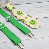 John Deere Boys Neck Tie and Green Suspenders Set, various sizes. Weddings, Birthday, Church. Any Occasion