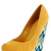 America3 Glitter Platform Missoni Wedges YELLOW