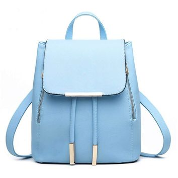 Women's Candy Color Pu Soft Leather Lovely Backpack Cute Schoolbag Shoulder Bag