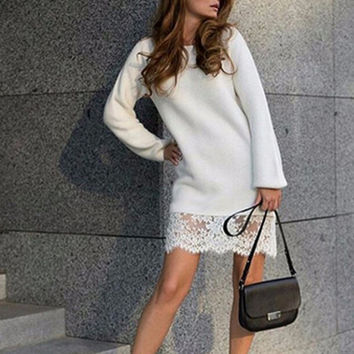 Autumn Winter Lace Crochet Knitted Sweater Mini Dress Long Sleeve Warm Patchwork Slim Bodycon Dresse