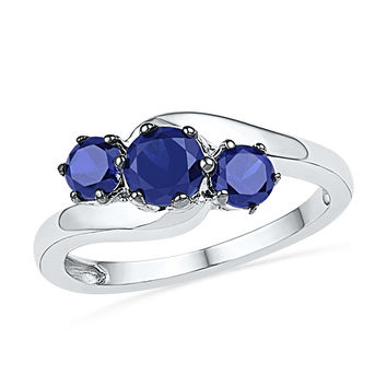 10kt White Gold Womens Round Lab-Created Blue Sapphire 3-stone Ring 1-1/2 Cttw 100617