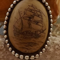 Schrimshaw Ring by SJ etched with Whaling Ship