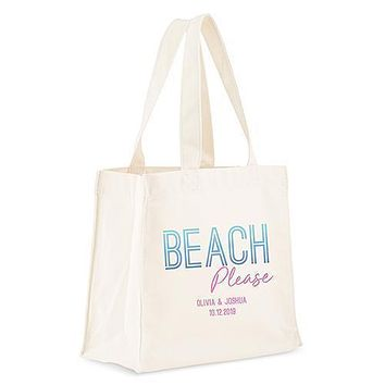 Personalized White Canvas Tote Bag - Beach Please Tote Bag with Gussets (Pack of 1)