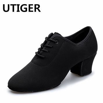 Women Latin salsa Ballroom dance shoes Adult Modern Dance shoes Oxford Cloth Teacher Square Dance Shoes Two Point Soles shoes