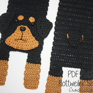 Crochet PATTERN - Rottweiler Scarf / Dog Breed Scarf, Puppy Scarf, Dog Scarf, Neck Warmer - PATTERN ONLY