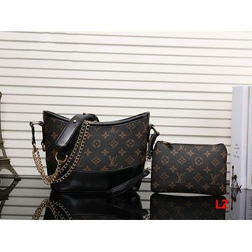 One-nice™ LV Women Shopping Leather Metal Chain Crossbody Satchel Shoulder Bag Two piece H-MYJSY-BB