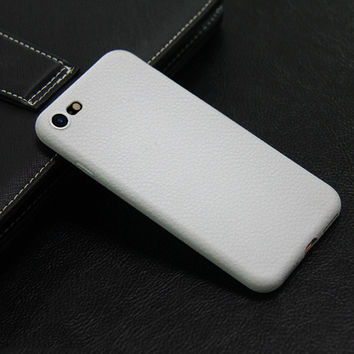 Luxury Soft  White Leather Phone Case For iPhone 7 7Plus 6 6s Plus 5 5s SE