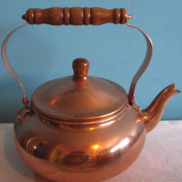 Small Copper Kettle Teapot Tea for 2 or More 1984 Lined for food safety