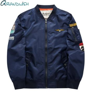 Grandwish Flight Bomber Jacket Men Plus Size 6XL Men Pilot Bomber Jacket Patch Design Large Size Bomber Jacket Mens ,PA868