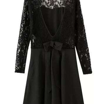 Long Sleeved V-Back With Bow Lace Black Dress