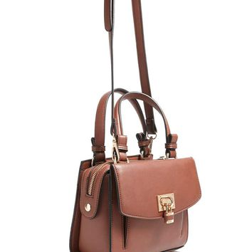 Faux Leather Pad-Lock Satchel