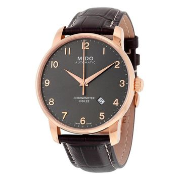 Mido Jubilee Automatic Black Dial Brown Leather Mens Watch M86903138