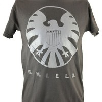 S.H.I.E.LD. (Marvel Comics, Nick Fury, The Avengers) Mens T Shirt- Silver Logo