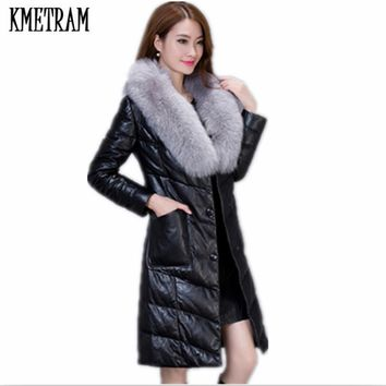 2017 Winter Fashion Women Long Leather Jacket Coat Female Fashion Big Fur Collar Warm Slim Plus Size M-4XL jaqueta couro HH290