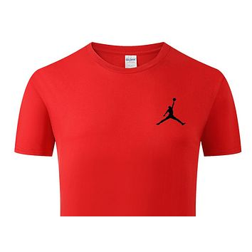 Jordan New fashion bust side people print couple top t-shirt Red